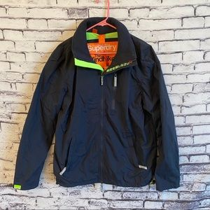 Superdry Windhiker Jacket French Navy/Fluro Green
